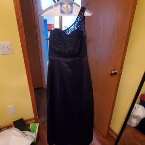 Navy One Shoulder Bridesmaids Dress